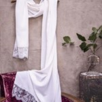 Etole en soie bordée de dentelle - Laure de Sagazan