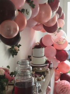 Décoration - baby shower - rose - sweet table - Bordeaux