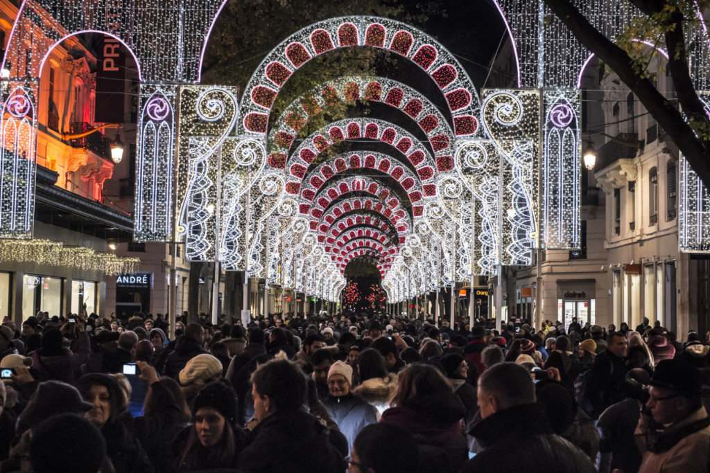 Les rues de Lyon pendant la fête des Lumières